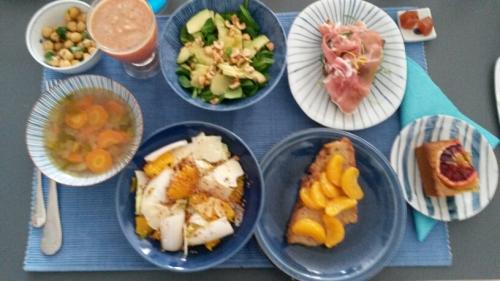 brunch maison, fait maison, ccontraintes en cuisine, menu thématique, agrumes, fruits d'hiver, salades d'hiver, s'organiser en cuisine